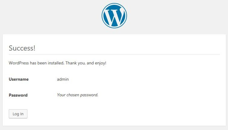 wordpress installation successful