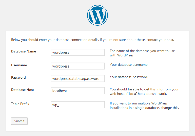 Filling in the WordPress database details.