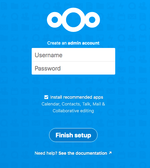 Creating the administrator account in Nextcloud