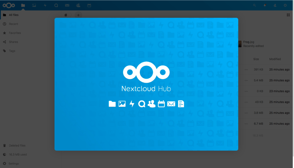 The Nextcloud hub interstitial page