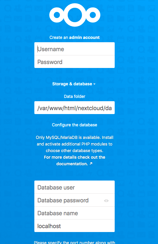 Nextcloud settings page