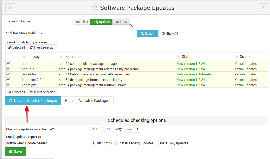 webmin package update
