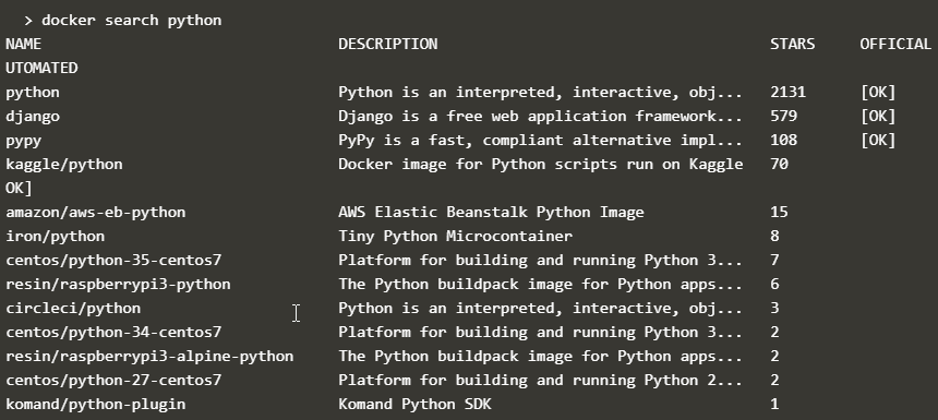 docker search python