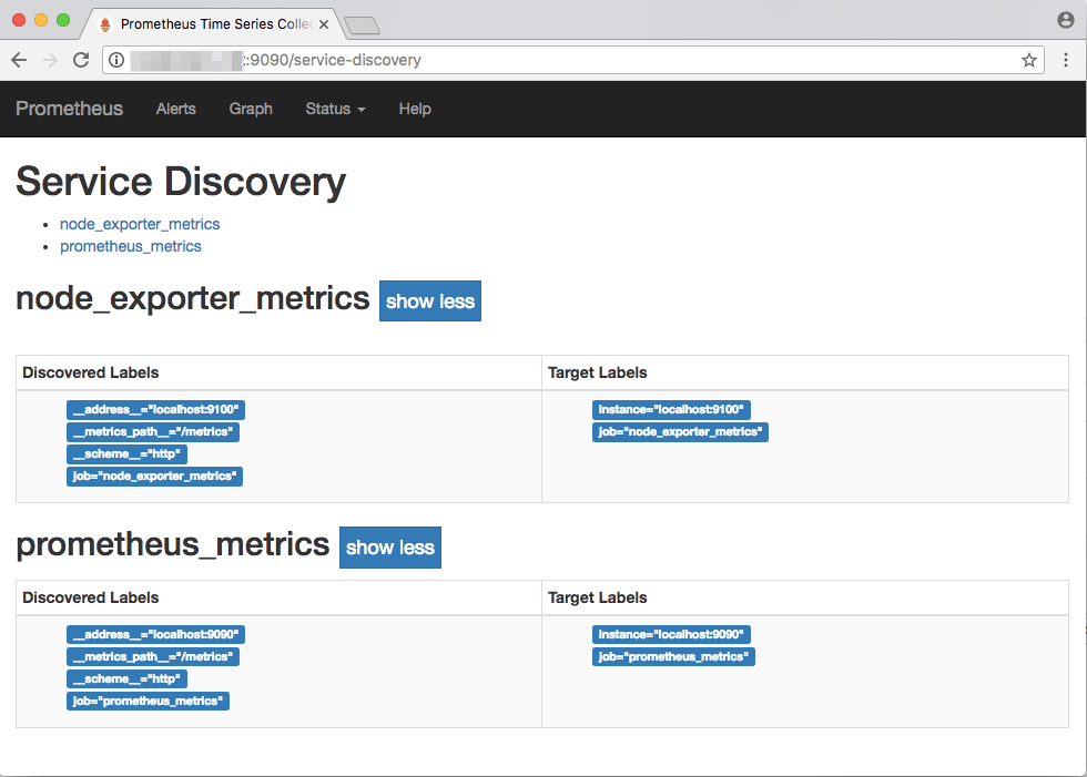 The Prometheus service discovery page