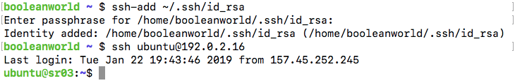 Adding a key's passphrase with ssh-add.