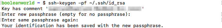 Encrypting an unencrypted key with ssh-keygen.