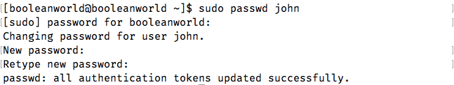Creating a password for a Linux user using passwd.