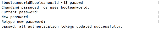 Changing your own password using passwd.